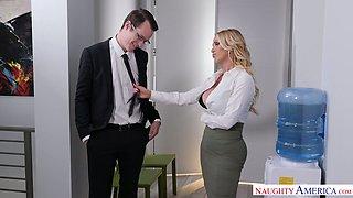 Gorgeous seductress Nikki Benz seduces her nerd and decent boss