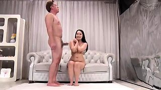 Big breasted Japanese wife turns her husband into a cuckold