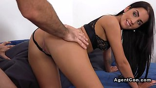 Long haired secretary banged in casting