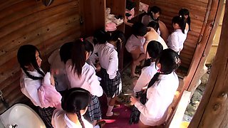 Naughty Japanese schoolgirls sharing their desire for cock