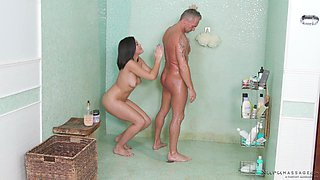 Kendra Spade bouncing on her oiled fuck buddy energetically