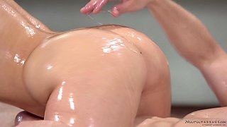 Oily hardcore massage sex and a gooey cum shoot for MILF Aj Applegate