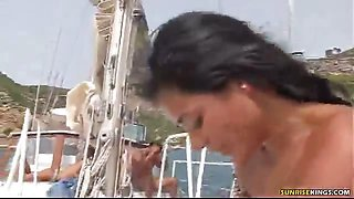 Sexy amateur babe rides a cock on a yacht