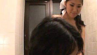 Subtitled Japanese busty milf nudist maid bathing care
