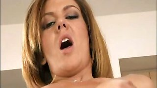 Kimber Lace ripos open pantyhose to get her pussy fucked