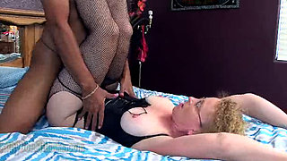 Horny granny fucked by her black stud