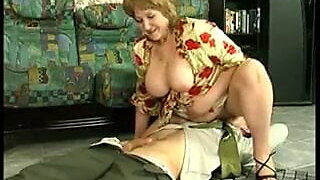 Facesitting with a mature Russian lady and her slave