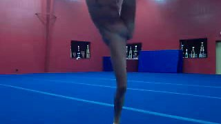 nude gymnastic session at the gym and masturbation