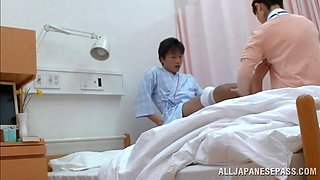 Horny Japanese nurse pleases patient riding his stiff cock