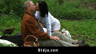 Sweet looking brunette teen having sex fun with old geezer