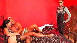 Hot threesome sex video featuring two lustful babes