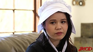 Shy maid Yhivi gets undressed and fucked hard in the bedroom