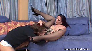 Small Titted Cougar In Erotic, Black Stockings, Caroline Is Rubbing Her Clit While Getting Fucked