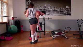Personal trainer eats out Amirah Adara and gets a hot blowjob