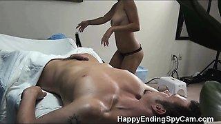 Tessa is caught on our hidden spy cam fucking her massage