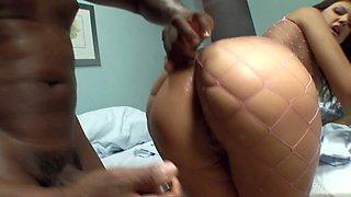 Slutty white nurse Olivia Ii bangs one black patient like a sex starved hooker