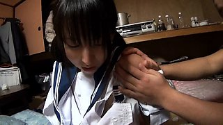 Pigtailed Oriental schoolgirl gets banged rough by two boys