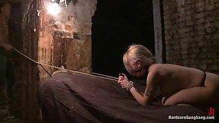 blonde slut forced into brutal gangbang