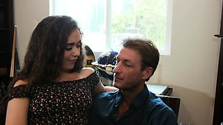 Stepdad cannot resist his stepdaughters charms and hot body