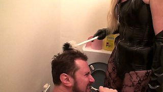 toilet humiliation with toilet cleaner for teeth and piss