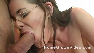 Mature woman with glasses fucked hard up her shave cunt