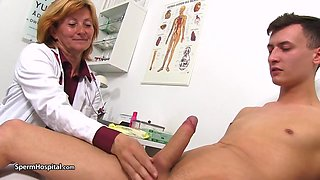Naughty mature nurse, Stefania likes to play with rock hard cocks, even while at work
