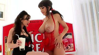 Nasty lesbians fill up their huge asses with milk and ejacul