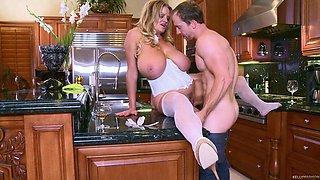 Amazing kitchen fuck with busty blonde slut Kelly Madison