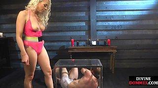 BDSM mistress dominates sub with cane and cum