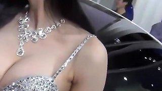 Asian car show girl nipple slip