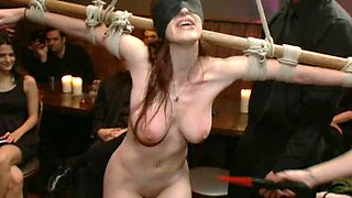 Busty Redhead Beauty Gets Tied Up and Abused By Several People