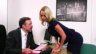 Classy office cfnm brits jerk naked colleague