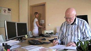 Young Secretary Fucks old man boss fucks beautiful girl