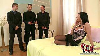 Hot boss lady enjoys gang bang