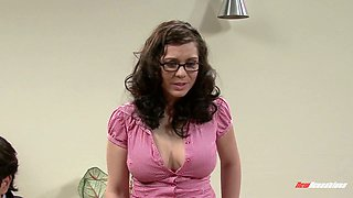 Nerdy brunette in glasses Ashlynn Brooke hooks up with two kinky dudes