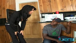 Nasty housewife is cheating on her man with black neighbor