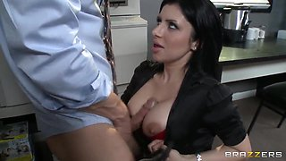 Johnny Sins,  Kelly Divine,  Kianna Dior,  Sativa Rose in the office seduction scene