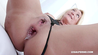 Blonde MILF From Europe Takes Two Massive Black Dick In Her Ass