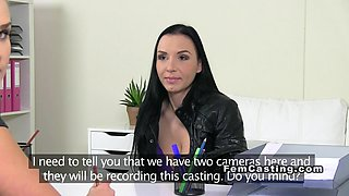 Busty brunette eats female agent on the casting couch