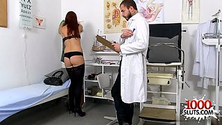 brunette doctor gaping with cumshot feature