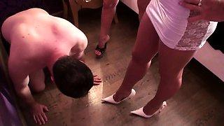 Glamour girls spit on slaves