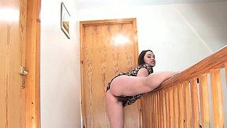 Olga Cabaeva strips near a stair way