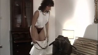 Two delectable classic brunette babes in passionate action