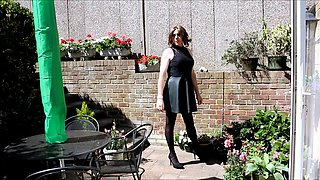 Alison's wanking in the garden again - Sexy Crossdresser
