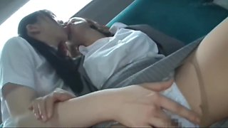 Asian school girl has fun with teacher on bus
