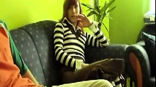Young in stripes collant fucks on couch (Camaster)