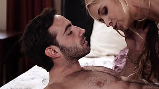 Nice fucking on the bed with trimmed pussy secretary Sarah Vandella