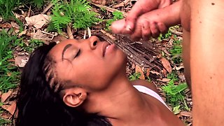 Great interracial sex in the woods of Nola Blu and Justin Hunt