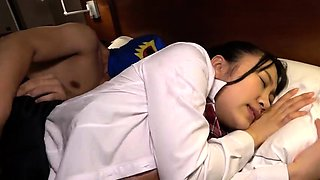 Stacked Asian schoolgirl in pantyhose takes a deep fucking