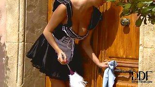 Blonde mistress punishes her maid
